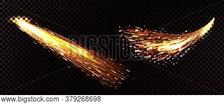 Weld Sparks Isolated On Transparent Background. Vector Realistic Flare Effect Of Metal Welding, Grin