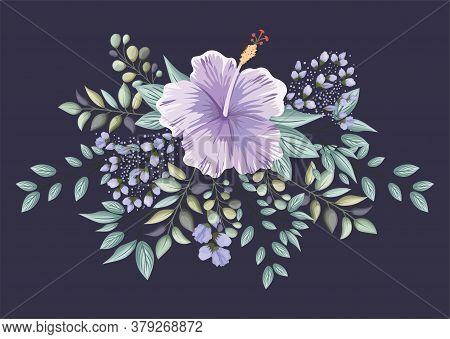 Purple Hawaiian Flower With Leaves Painting Design, Natural Floral Nature Plant Ornament Garden Deco