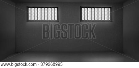 Prison Cell With Barred Windows, Empty Jail Interior With Grey Concrete Walls And Sun Rays Falling O