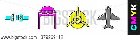 Set Safety Belt, Aviator Hat With Goggles, Plane Propeller And Plane Icon. Vector