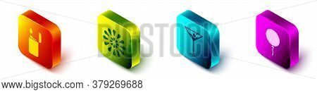 Set Isometric Lighter, Firework, Martini Glass And Balloon With Ribbon Icon. Vector