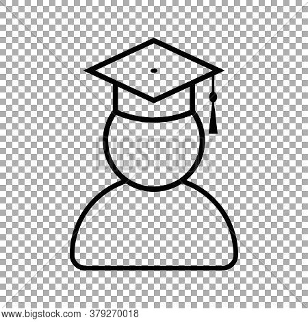 Graduate Student With Graduation Cap Icon Isolated On Transparent Background. Vector Illustration