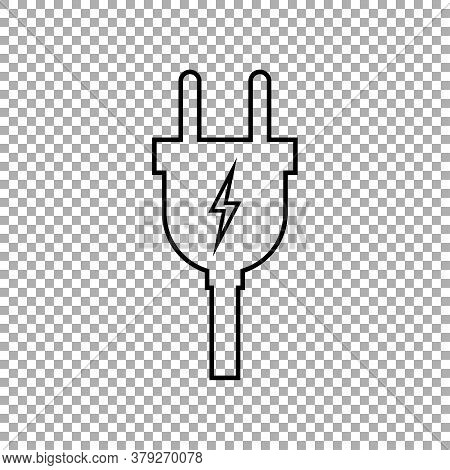 Electric Plug Icon Isolated On Transparent Background. Vector Illustration