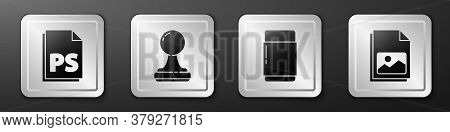 Set Ps File Document, Stamp, Eraser Or Rubber And Picture Landscape Icon. Silver Square Button. Vect