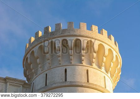 Tower Of The Monastery On The Top Of El Toro Mountain On Menorca, Balearic Islands, Spain