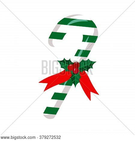 Christmas Candy Cane And Holly Berries Isolated On White Background. Christmas Cane With Green Strip