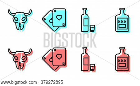 Set Line Whiskey Bottle And Glass, Buffalo Skull, Playing Cards And Whiskey Bottle Icon. Vector