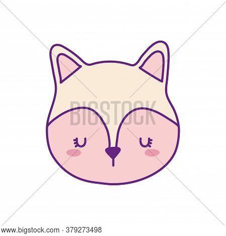 Cute Cat Face Cartoon Line And Fill Style Icon Design, Animal Pet Kitten Domestic Feline Kitty Mamma
