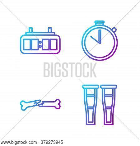 Set Line Crutch Or Crutches, Human Broken Bone, Hockey Mechanical Scoreboard And Stopwatch. Gradient