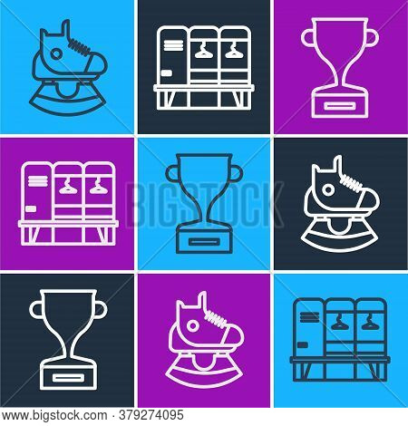 Set Line Skates, Award Cup And Locker Or Changing Room Icon. Vector