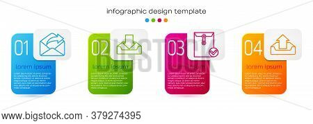 Set Line Outgoing Mail, Download Inbox, Envelope And Check Mark And Upload Inbox. Business Infograph