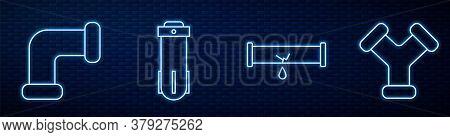 Set Line Broken Pipe With Leaking Water, Industry Metallic Pipe, Water Filter And Industry Metallic