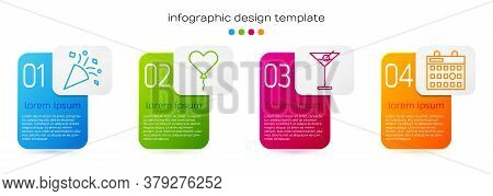 Set Line Festive Confetti, Balloon In Form Of Heart, Martini Glass And Birthday Calendar. Business I
