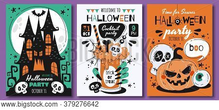 Triplet Of Scary Halloween Poster Designs Or Party Invitations With Haunted Houses, Bats, Skulls, Ja