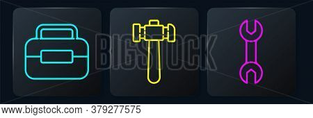 Set Line Toolbox, Wrench Spanner And Hammer. Black Square Button. Vector