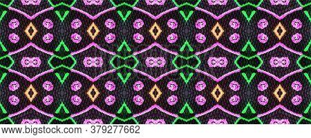 Tribal Print. African Seamless Pattern. Indonesian Ornament. Kaleidoscope Texture. Hand Drawn. Acid