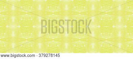Lemony Tie Dye Print. Geometric Seamless Pattern. Yellow And White. Citric Background. Shibori Textu