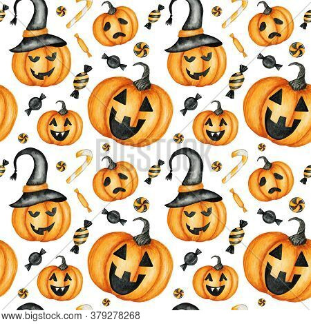 Happy Halloween Seamless Pattern With Jack O Lantern Pumpkins, Candy Sweets Holiday Party Decoration