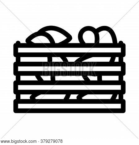 Mushroom Wooden Box Icon Vector. Mushroom Wooden Box Sign. Isolated Contour Symbol Illustration