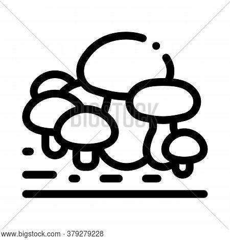 Growing Mushroom Icon Vector. Growing Mushroom Sign. Isolated Contour Symbol Illustration