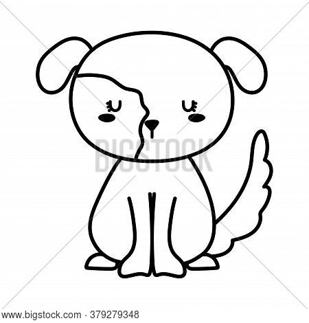 Dog Line Style Icon Design, Mascot Pet Animal Nature Cute Puppy Canine And Domestric Theme Vector Il