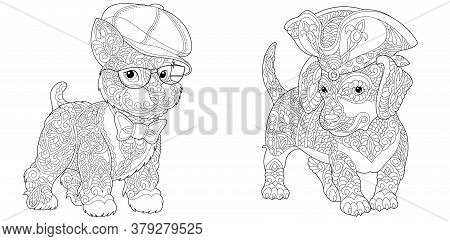 Coloring Pages. Cute Hipster Dogs In Funny Hats And Accessories. Line Art Design For Adult Colouring
