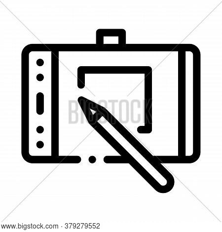 Web Site Design On Tablet Icon Vector. Web Site Design On Tablet Sign. Isolated Contour Symbol Illus