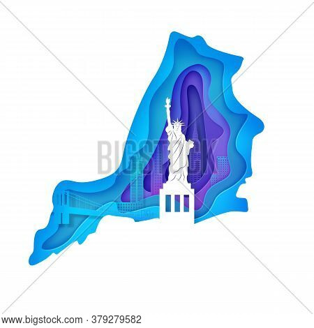New York Night Landscape In Wavy Frame In Paper Cut Style. Cut Out Map Silhouette Skyscraper, Statue