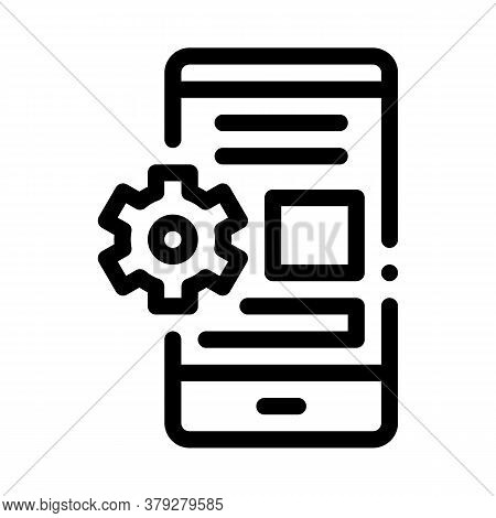 Web Site Adaptive For Phone Icon Vector. Web Site Adaptive For Phone Sign. Isolated Contour Symbol I