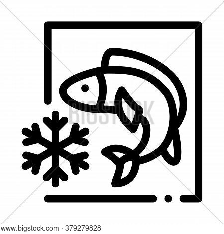 Frozen Fish Icon Vector. Frozen Fish Sign. Isolated Contour Symbol Illustration