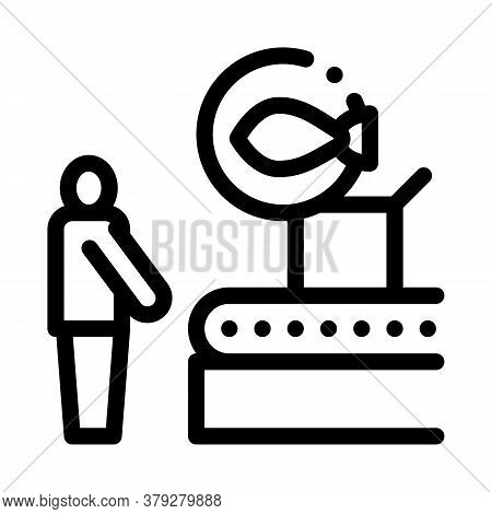 Fish Factory Conveyor Icon Vector. Fish Factory Conveyor Sign. Isolated Contour Symbol Illustration