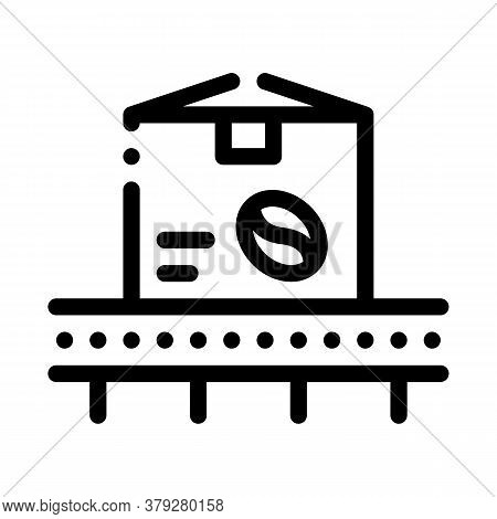 Coffee Production Conveyor Icon Vector. Coffee Production Conveyor Sign. Isolated Contour Symbol Ill