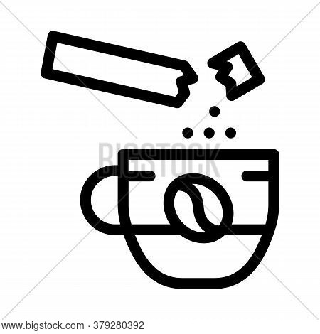 Coffee With Sugar Icon Vector. Coffee With Sugar Sign. Isolated Contour Symbol Illustration