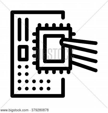 Radio Microchip Icon Vector. Radio Microchip Sign. Isolated Contour Symbol Illustration