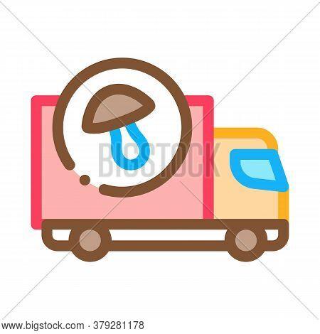 Mushroom Delivery Icon Vector. Mushroom Delivery Sign. Color Symbol Illustration