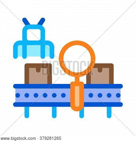 Manufacturing Defect Search Icon Vector. Manufacturing Defect Search Sign. Color Symbol Illustration