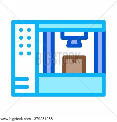 Manufacturing 3d Printer Icon Vector. Manufacturing 3d Printer Sign. Color Symbol Illustration