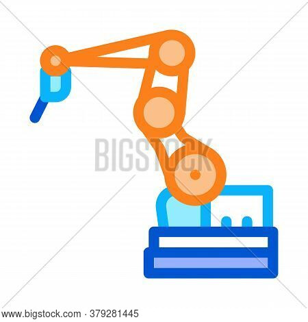 Manufacturing Robotic Arm Icon Vector. Manufacturing Robotic Arm Sign. Color Symbol Illustration