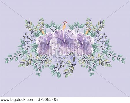 Purple Hawaiian Flowers With Leaves Painting Design, Natural Floral Nature Plant Ornament Garden Dec
