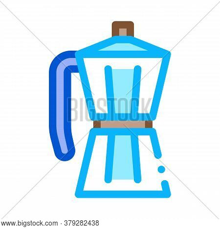 Pot For Boiling Coffee Icon Vector. Pot For Boiling Coffee Sign. Color Symbol Illustration