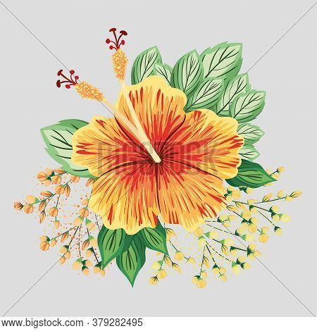 Yellow And Red Hawaiian Flower With Leaves Painting Design, Natural Floral Nature Plant Ornament Gar
