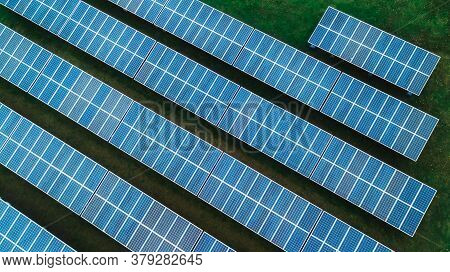 Aerial Drone View Of Solar Panel Field Background, Photovoltaic, Alternative Electricity Source - Co