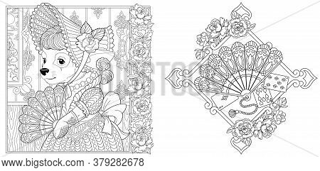 Coloring Pages. Chihuahua Dog Girl In Vintage Dress. Paper Fan With Peony Flowers. Line Art Design F