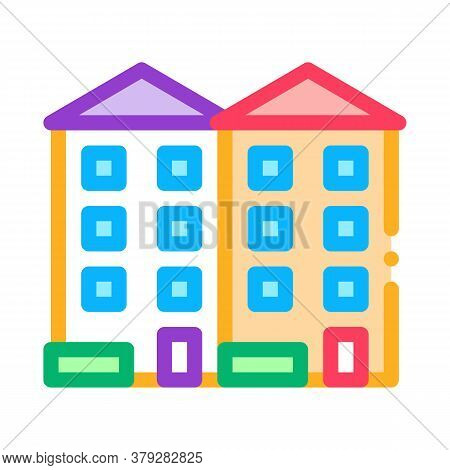 Apartment Houses Icon Vector. Apartment Houses Sign. Color Symbol Illustration