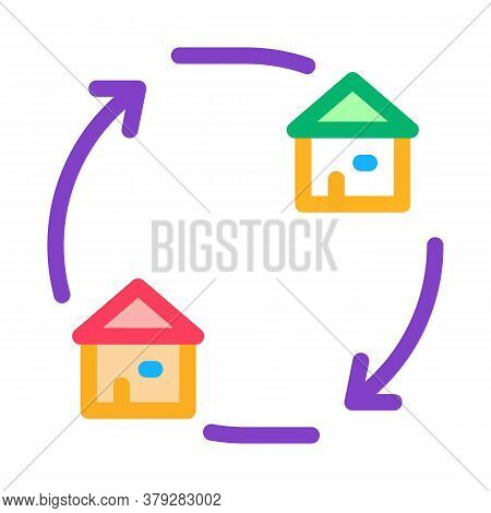 Houses Exchange Icon Vector. Houses Exchange Sign. Color Symbol Illustration