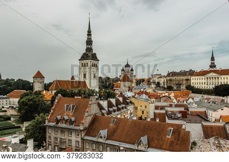 Aerial View Of Old Town In Tallinn With Toompea Castle, Estonia.medieval City In The Baltics.beautif