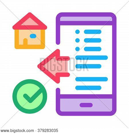 House Check Phone App Icon Vector. House Check Phone App Sign. Color Symbol Illustration