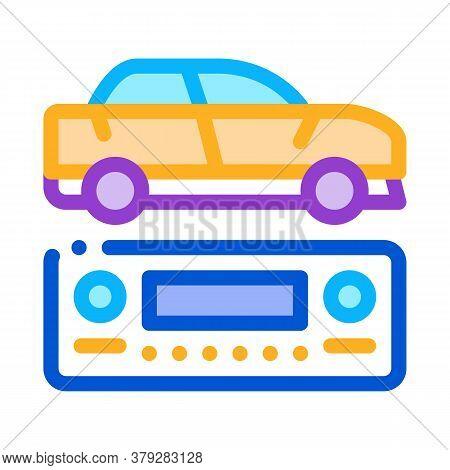 Car Radio Icon Vector. Car Radio Sign. Color Symbol Illustration