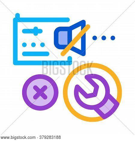 Radio Broken Sound Repair Icon Vector. Radio Broken Sound Repair Sign. Color Symbol Illustration