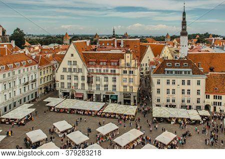 Tallinn, Estonia - August 21, 2019.aerial View Of Old Town In Tallinn With Main Central Square, Esto